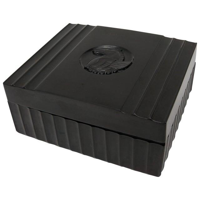 1920s Dunhill American Art Deco Black Bakelite Storage Box with Pegasus Motif For Sale