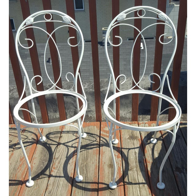 Vintage Meadowcraft White Wrought Iron Bistro Table & Chairs- Set of 3 - Image 4 of 6