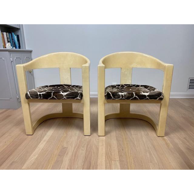 Karl Springer Vintage Karl Springer Onassis Goatskin Chairs - Set of 4 For Sale - Image 4 of 11
