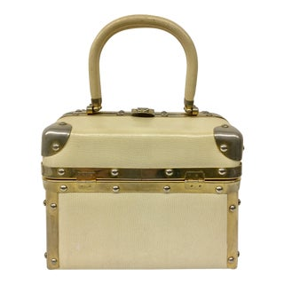 Vintage Italian Brass Detailed Train Case For Sale
