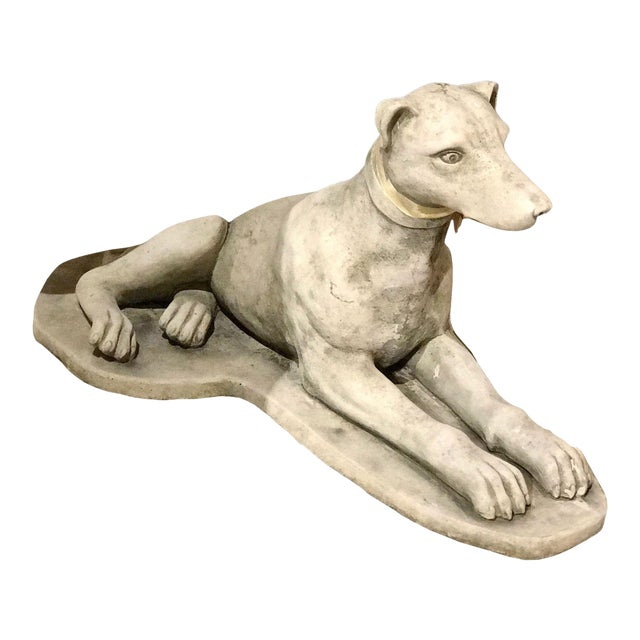 Vintage European Cement Dog Statue For Sale
