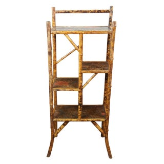 Antique English Victorian Bamboo Etagere For Sale