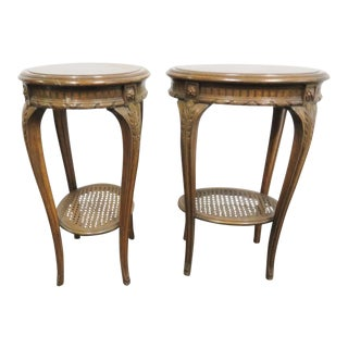 Louis XV Walnut Carved Caned Side Tables- a Pair For Sale
