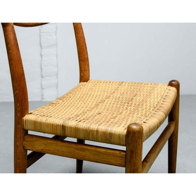 Brown Mid-Century Oakwood and Woven Cane Side Chair W2 by Hans J. Wegner for c.m. Madsen, 1953 For Sale - Image 8 of 11