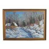 "Image of Original ""Home on a Wintry Road"" Oil on Canvas Painting Signed Otto Eilentsen For Sale"