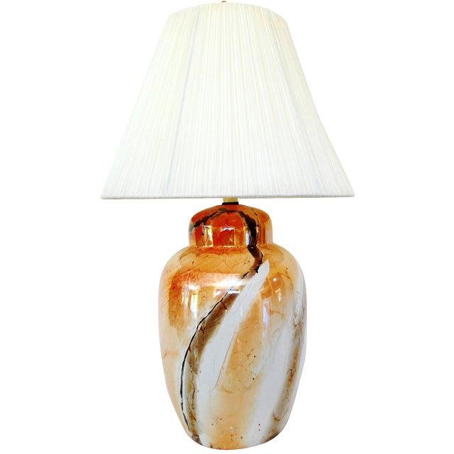 Vintage Faux Marble Ginger Jar Lamp /Shade For Sale