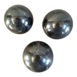 Italian Marble Spheres Decor, 3 Pieces For Sale