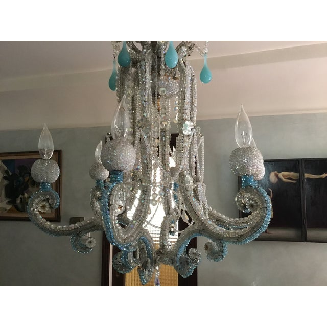 Hollywood Regency Crystal Six-Arm Chandelier For Sale - Image 3 of 4
