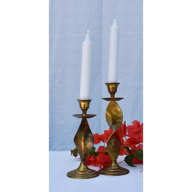 1970s Pair of Antique Twisted Brass Candle Holders For Sale - Image 5 of 5