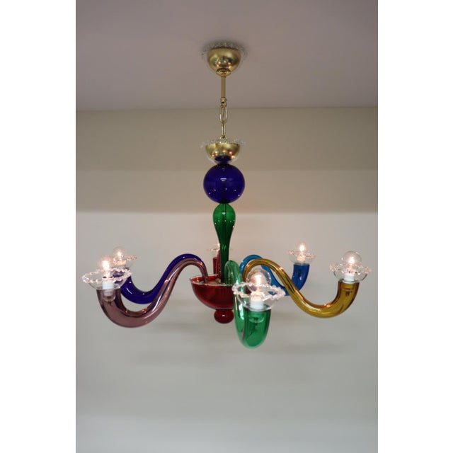 Mid-Century Modern Vintage Primary Color Mid-Century Modern Murano Glass Chandelier For Sale - Image 3 of 13