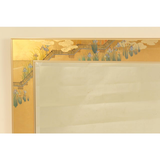 La Barge chinoiserie style horizontal mirror with eglomise painted glass panels, signed C. Adams, dated 1987. This is a...