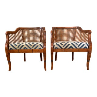 Mid-Century Sam Moore Caned Barrel Chairs- A Pair For Sale