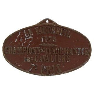 1975 French Horse Show Trophy Plaque For Sale