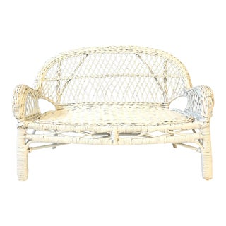 White Wicker Miniature Settee