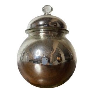 Vintage Mercury Glass Lidded Bowl Cookie Jar For Sale
