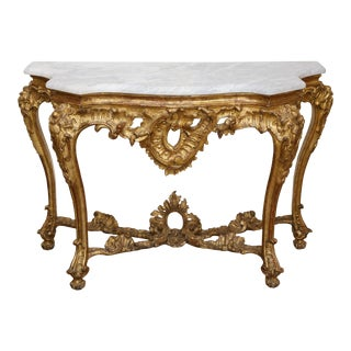 Gold Gilt Console With Custom Cut Marble Top For Sale