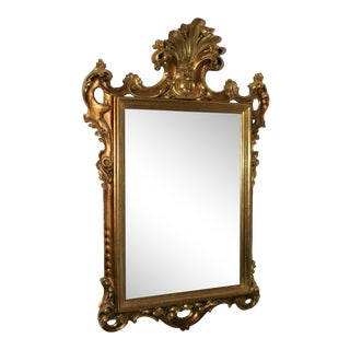 19th Century Italian Carved Gilt Wood Baroque Wall Mirror For Sale