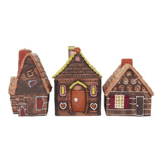 Vintage Ceramic Gingerbread House Cookie Jar Canisters, Set of 3 For Sale