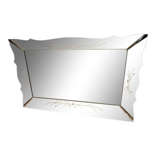 Hollywood Regency Venetian Etched Mirror For Sale