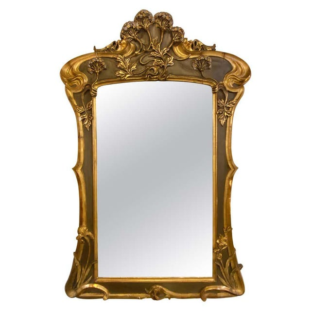 Belle Époque Style Wall or Over Mantel Mirror Art Nouveau Form For Sale - Image 13 of 13