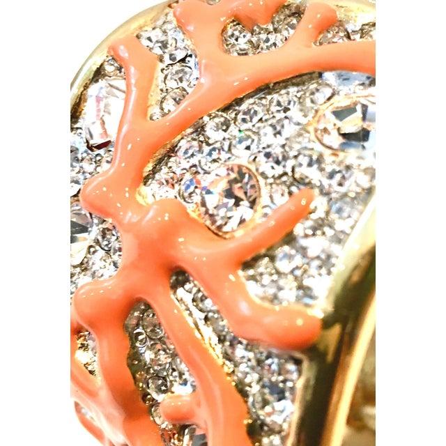 Metal 21st Century Kenneth Lane Gold & Faux Coral Swarovski Crystal Bracelet For Sale - Image 7 of 11
