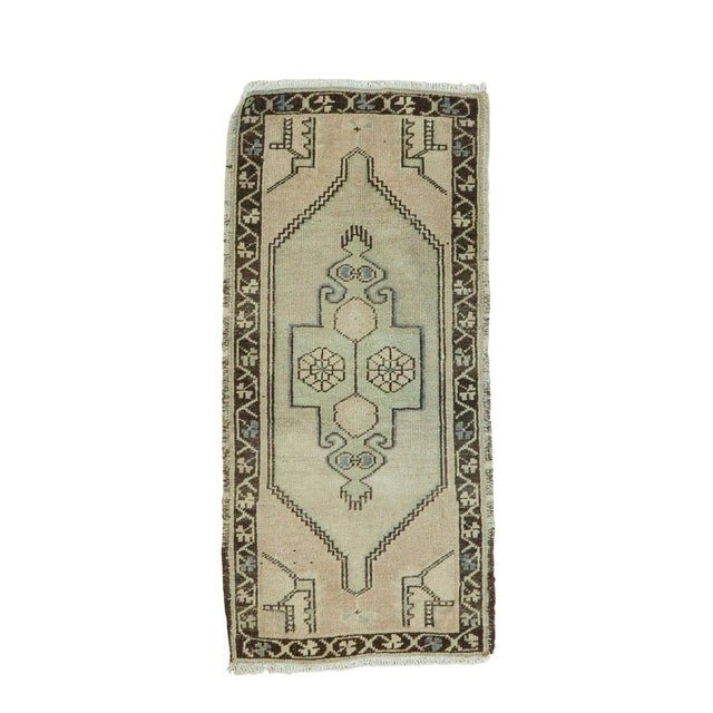 "Vintage Turkish Oushak Runner - 1'6"" x 3'2"" - Image 1 of 5"