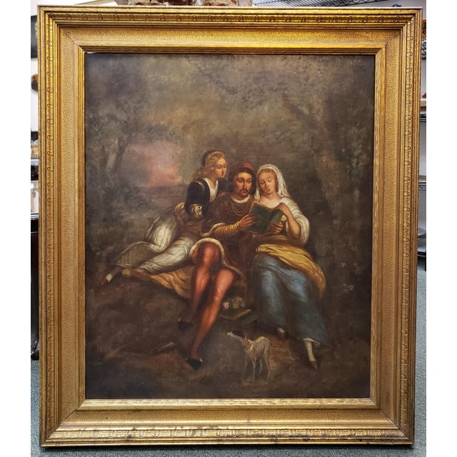 Late 18th Century Late 18th/Early 19th Century Italian School Man and Women Reading in Forest Oil Painting Set in a Florentine Gold Wood Frame For Sale - Image 5 of 5