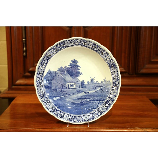 Early 20th Century Early 20th Century Dutch Hand-Painted Delft Platter With Pastoral Scene For Sale - Image 5 of 11