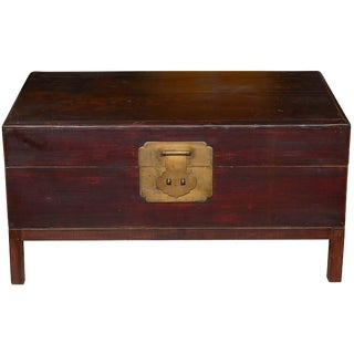 Mid-19th Century Peachwood Trunk on Stand, Brown Lacquered, Shanghai For Sale