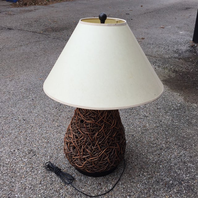 Handmade Jute and Rush Lamp With Shade For Sale - Image 10 of 11
