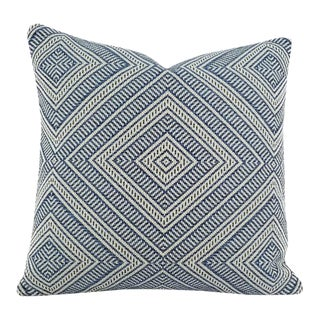 "F. Schumacher ""Tortola"" Marine Diamond Pattern Outdoor Pillow Cover For Sale"