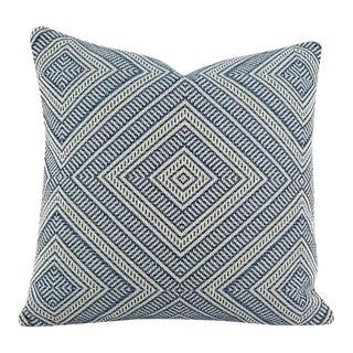 "F. Schumacher ""Tortola"" Marine Diamond Pattern Outdoor Pillow Cover For Sale"