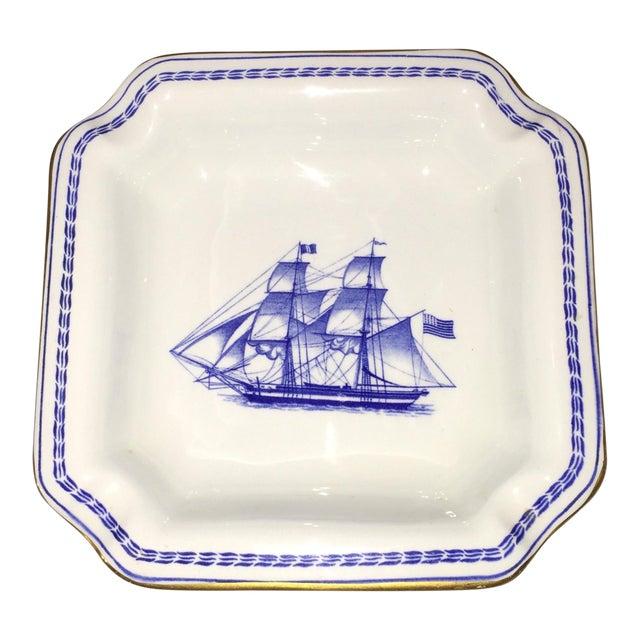 Spode Navy Blue Trade Winds Ship Trinket Dish | Chairish