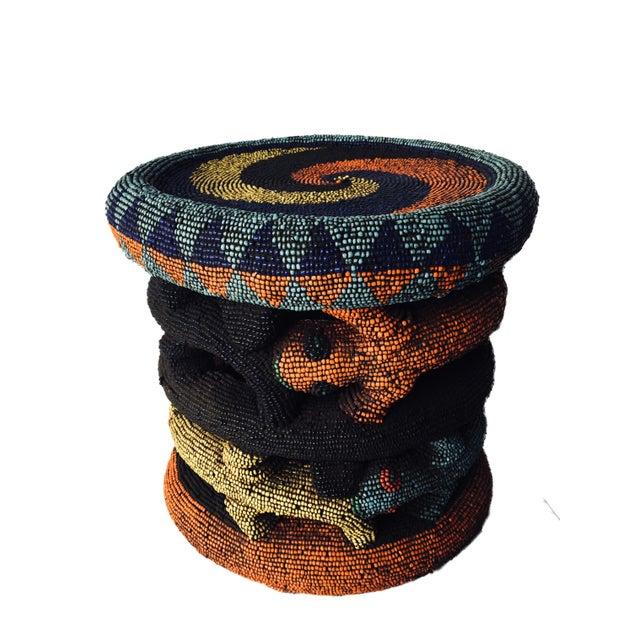 "Figurative Beaded Wood Bamileke Leopard Stool /Table Cameroon 8.5'""h For Sale - Image 3 of 13"