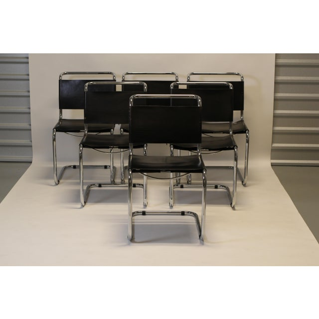 Chrome and Leather Cantilevered Dining Chairs in the Style of Mies Van Der Rohe - Set of 8 For Sale - Image 9 of 9