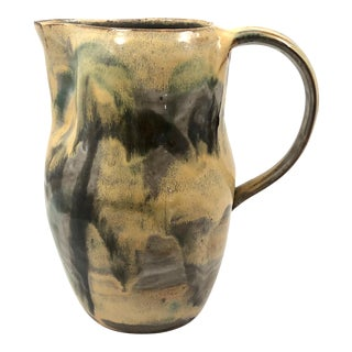 Rustic Hand-Thrown Pitcher With Painterly Yellow Glazing For Sale