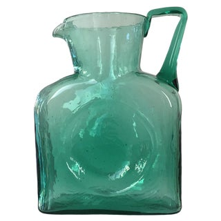 1960s Vintage Blenko Turquoise Water Pitcher With Handle
