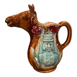 19th Century French Hand Painted Ceramic Barbotine Horse Pitcher Onnaing Style For Sale