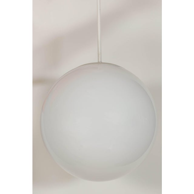 Vintage Large 1960s Opaline Glass Globe Pendant Lamp