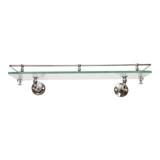 Vintage Glass & Chrome Plated Brass Wall Shelf For Sale