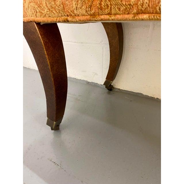 Peach 1980s Vintage Swaim Regency Peach Velvet Damask Upholstered Scroll Arm Curvy High Side Bench on Casters For Sale - Image 8 of 12