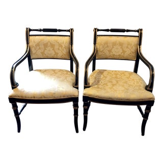 Vintage Mid Century Empire Style Armchairs- A Pair For Sale
