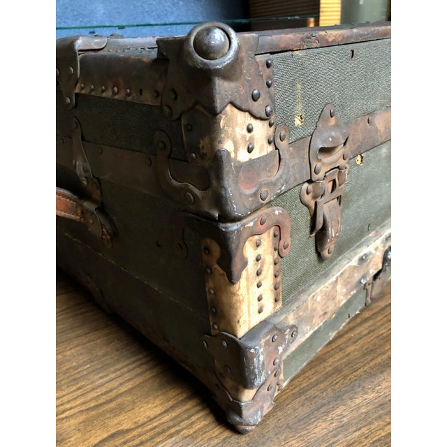 1930s Vintage P & S Co. Wood Leather and Metal Trunk For Sale - Image 5 of 11