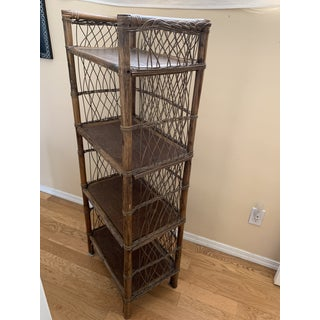 Rustic Primitive Woven Bamboo Shelf Unit Preview