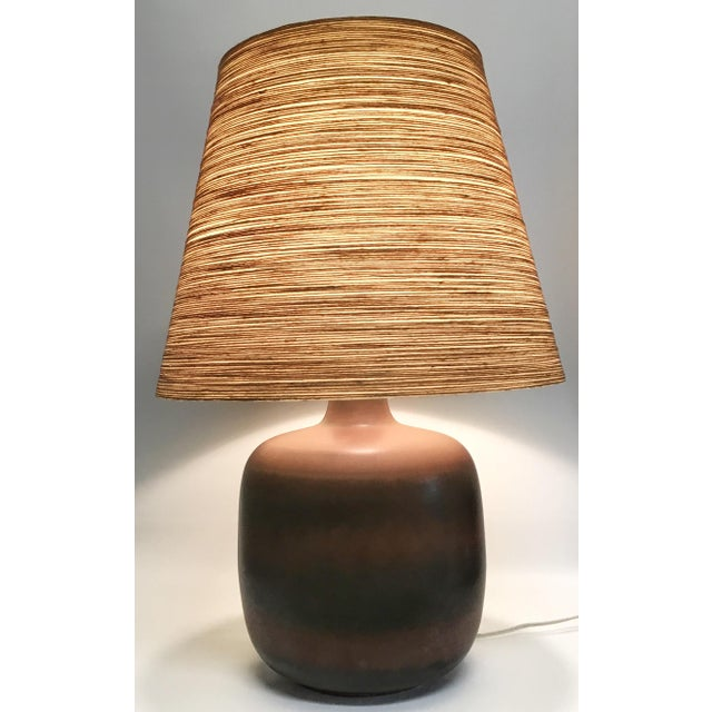 Boho Chic Lotte & Gunnar Bostlund Ceramic Lamp With Original Shade For Sale - Image 3 of 8