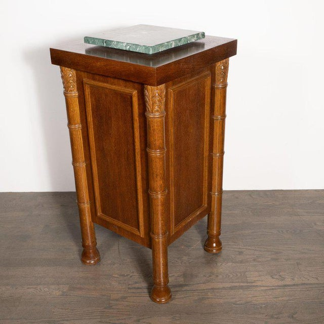 Art Deco Hand Rubbed Oak Pedestal With Exotic Green Rotating Marble Top For Sale In New York - Image 6 of 9