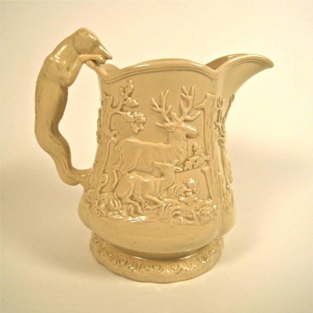 Large 19th Century American Stag and Doe Pitcher with Hound Dog Handle - Image 1 of 8