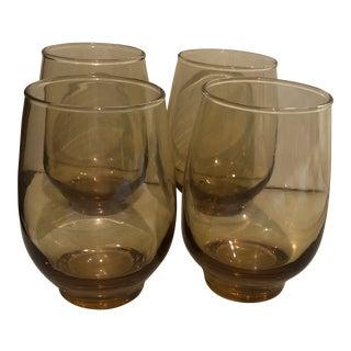 Set of 4 Vintage Amber Colored Glasses For Sale