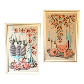 Turner Mid-Century 3-D Vacuum-Formed, Hand-Colored Wall Decor - a Pair For Sale