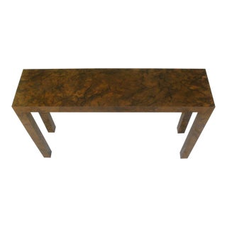 Narrow Parsons Console Table in Tortoiseshell For Sale